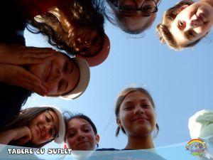 Kids on blue sky
